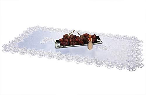 AmazingCurtains_Ltd De qualité Premium Blanc Nappe Chemin de Table avec Dentelle Guipure rectangulaire, Blanc, 60 x 120cm