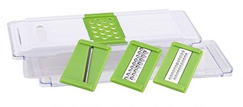 Mehrzweckreibe mit 4 Reibeeinsätzen - Multireibe mit Auffangbehälter und Deckel - Gemüsereibe - Feinreibe - Allzweckreibe - Käse Reibe - Hobel - Käsereibe - Küchenreibe