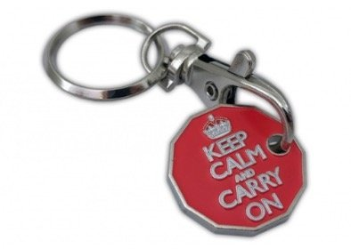 Price comparison product image New 12 sided Keep calm and carry on shopping trolley token key ring ( we have other 12 sided designs )