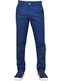 Enzo Mens Designer EZ348 Slim Fit Stretch Zip Chino Jeans Cotton Denim 990b030ac449