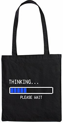 Mister Merchandise Tasche Thinking - Please Wait Stofftasche , Farbe: Schwarz Schwarz