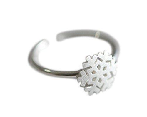 Cdet Offener Ring Weihnachten Schneeflocken Form Legierungs Ringe Dekoration Zubehör Hochzeit/Geburtstag/Karneval/Party Zubehör Frau Ring (Ring) (Herren-diamant-jubiläum-band)