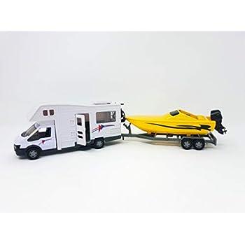 low cost 1c0f6 8e5e6 PLAYJOCS GT-6250 Camper Motorhome con Rimorchio con la Barca, ca. 35cm -  Die Cast Metallo Auto Car Modello Giochi per Bambini (4937)