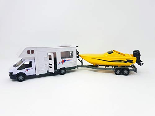 PLAYJOCS GT-4937 Motorhome / Wohnmobil und Anhänger mit dem Boot, 35cm - DieCast Metall Miniaturmodell Modellauto 4998