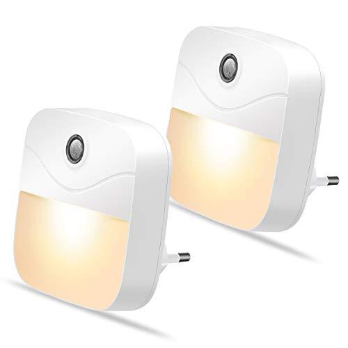 Luz Nocturna Infantil SEALIGHT Lámpara Nocturna Enchufe con Sensor de Luz Lámpara de Noche LED Blanco Cálido para Luz Quitamiedos Infantil para Niños Dormitorio Cocina Pasillo Escaleras Baño 2 Piezas