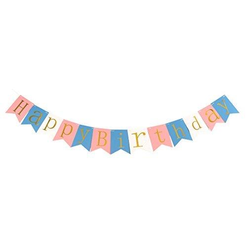DealMux Papier Alles Gute zum Geburtstag Letter-Muster-Karte DIY-Party-Foto-Stütze Banner Multicolor