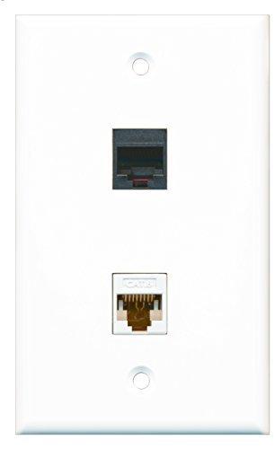 RiteAV-1RJ11RJ12schwarz Handytasche Port und 1CAT6weiß Ethernet Port Wall Plate Keystone-port-wall Plate