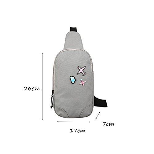 CLOTHES- Versione coreana della spalla trasversale trasversale della tela di canapa Sacchetto di cassa dell'uomo del sacchetto di viaggio di svago libero di modo ( Colore : Grigio ) Grigio