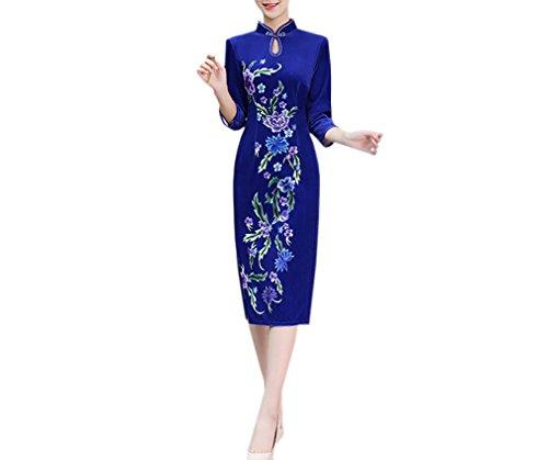 Luck Femme Qipao Longue Robe Style Chinois 3/4 Manche Rétro Elégant Bleu Foncé en Coton Bleu Foncé