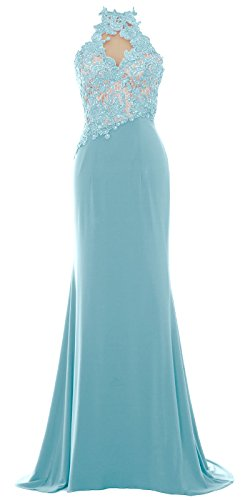 MACloth Women Mermaid Halter Lace Long Formal Evening Dress Wedding Party Gown Menthe