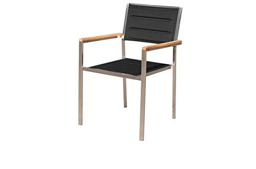 OUTFLEXX Moderner Stapelstuhl in schwarz, aus rostfreiem Edelstahl, Sitzfläche aus Textilene und Armlehnen aus hochwertigem Teakholz, Circa 62 x 56,5 x 86 cm, Holzstuhl, Sessel, wetterfest, - Edelstahl-stapelstühle