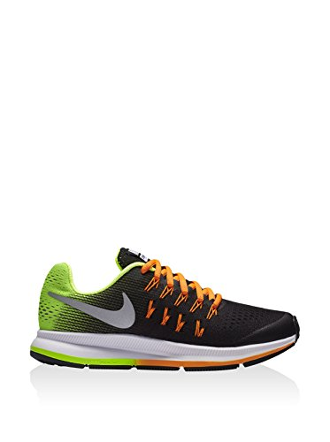 Nike Zoom Pegasus 33 (Gs), Chaussures de Running Entrainement Garçon Noir (Black (noir / argent métallique volts pleine orange))