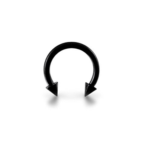 Barbell circulaire avecCôneen acier chirurgical 316L anodisé Blackline
