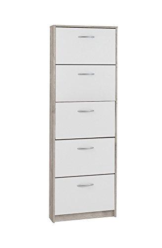Unbekannt FMD Möbel Step 5 Schuhkipper, Holz, sandeiche/weiß, 58.5 x 17 x 168.5 cm