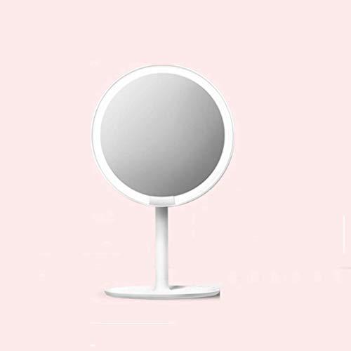 Jokeagliey Desktop-Eitelkeitsspiegel, LED-einstellbare Helligkeit, tragbare Falttabletop-Spiegel, Frauen,White