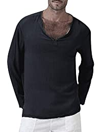 Bestow Camiseta de Verano para Hombre Solid Thai Hippie Cuello en V Beach Yoga Winter Top de Manga Larga en Color Liso