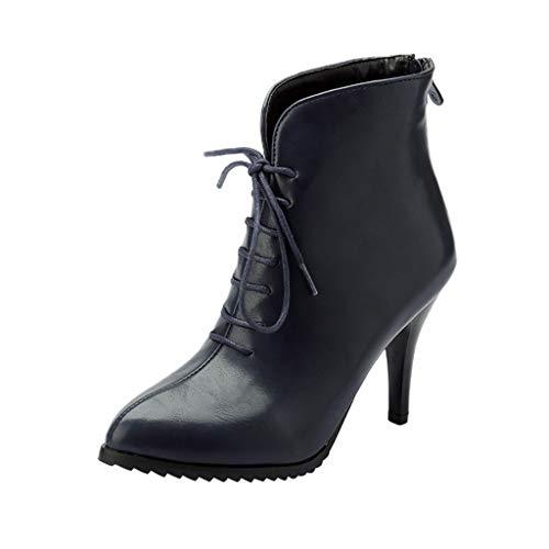 showsing Chaussures pour Femmes rétro Bottes Zipper Talon Haut Chaussures à Lacets Stiletto Bottines (37 EU, Bleu) par  showsing