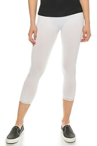 Kendindza Damen 2er | 3er Set | 3/4 Capri-Legging | Kurze Sommer-Legging mit Spitze (Weiß | 2er Pack, M/L) - Womens Seamless Hot Kurzen