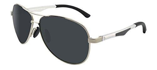 LZXC Polarisierte Sonnenbrille für Männer Outdoor Sport Brillen Unzerbrechliches Federscharnier Ultra-Light Metallrahmen HD Schwarz Objektiv