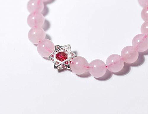 Ibuprofen Armreifen Armbänder S925 Silber Armband Weiblichen Rosa Kristall Armband Süße Stil Sechs Sterne Stern Erdbeer Kristall Armband (Sechs-sterne-erdbeere)