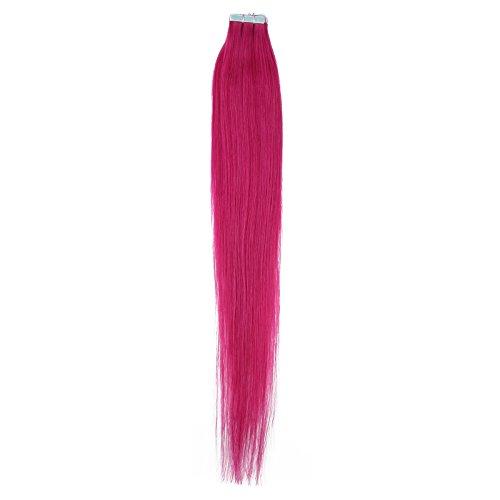 Beauty7 10 Tressen Tape In Extensions Echthaar Tape on Extensions Tape Extensions Haarverlaengerung Haarverdichtung Hochwertige Remy Haare Peruecken-40cm 16 inches-In Farbe #Pink-20g (Echthaar-extensions Pink)