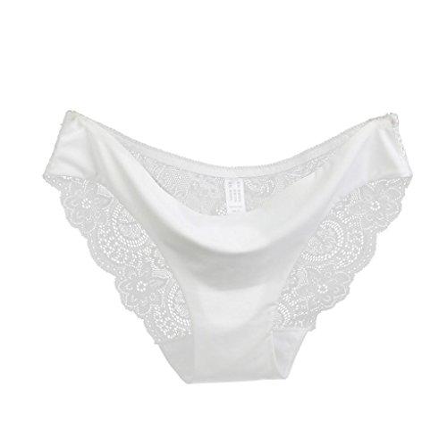 Joy Slip (Rosennie Frauen Spitze Slip Nahtlose Cotton Panty Hohle Slips Unterwäsche (M, Weiß))