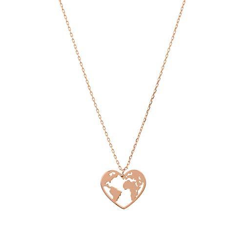 Hokulani - Welt Halskette | Herz Anhänger | Herz Weltkarte | mit Anhänger in Herzform | Weltkugel | Edelstahl | Wanderlust | Damen Kette in Rosegold, Gold oder Silber (Rose Gold)