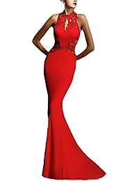 Abito Cerimonia Donna Lungo Elegante Vestito da Sera Vintage Pizzo Giuntura  Slim Fit Abiti da Sposa Smanicato… 235241aef33