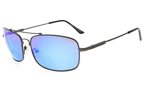 Eyekepper Bifokal Sonnenbrille mit biegsamer Brücke und Bügel Erinnerung Lesen Sonnenbrille Leicht Titan (Gunmetal Rahmen Blau Spiegel, 2.50)