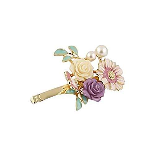Wuudi Retro Bohemia Perle Blume Haarspange Modische weibliche Pony Clip Haar Seite Clip Kopf Ornament Zubehör