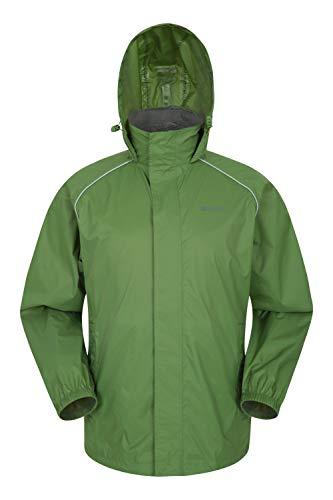Mountain Warehouse Pakka Wasserdichte Herren Jacke zusammenfaltbare Regenjacke Windjacke Kapuze Tragebeutel Camping Outdoor, Frühling Grün Large