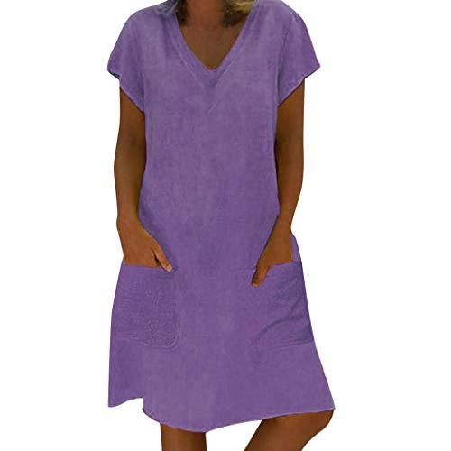 EUCoo Damen Leinen Kleid Sommer tropischen Stil Volltonfarbe V-Ausschnitt Tasche beiläufige lose Hemdkleid
