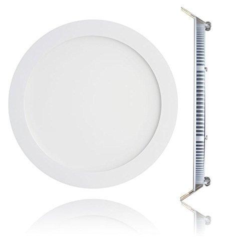 Panneau rond plafonnier à LED pour montage encastré 18 W Diam 225 mm Trou 205 mm lumière blanche naturelle spot et driver inclus