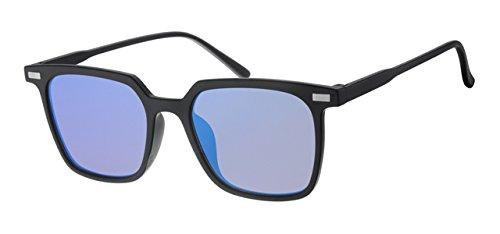Eyewear World Sonnenbrille, flach, reflektierend/verspiegelt Blau Objektiv, inklusive gelb Halskordel, Schwarz Rahmen