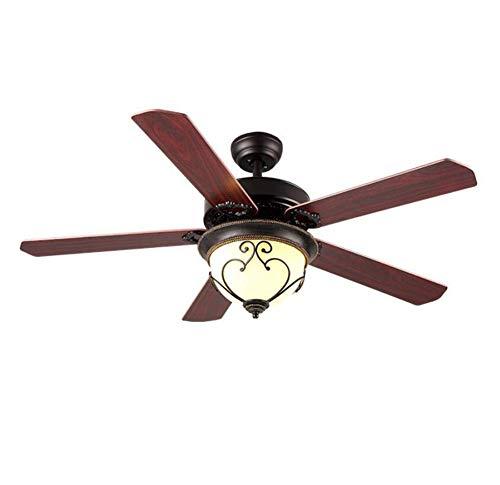L@LILI Deckenventilator Lampe Glas Lampenschirm Silent Retro Fan Decke - Mit Bad-fan Ruhiges Licht