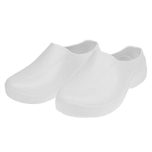 Prettyia 1 Par de Sandalias Zuecos Zapatos de Seguridad Trabajo Antideslizante para Uniforme Chef Enfermera Médica - Blanco, 37