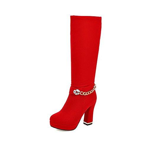 VogueZone009 Donna Media Altezza Puro Cerniera Tacco Alto Stivali con Metallo Pezzo Rosso