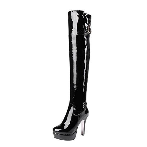 YE Damen Lack Overknee Stiefel Stiletto High Heels Plateau mit Reißverschluss 12cm Absatz Elegant Schuhe