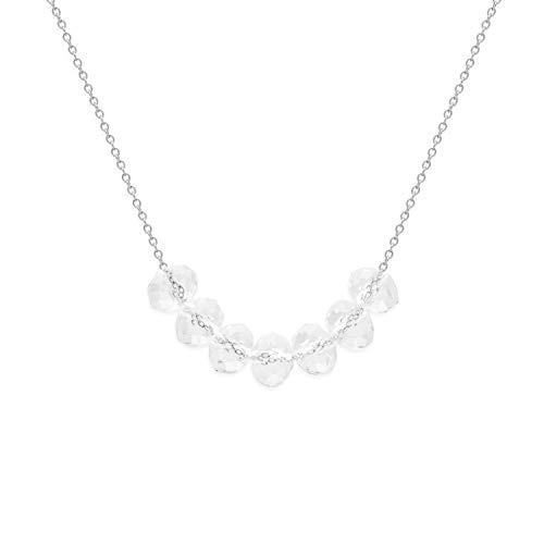 prettique stars & royals Damen Halskette Carrie mit Kristallglasperlen aus 925 Sterlingsilber - Silberkette - Perlenkette - Geschenk