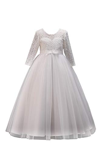 Mädchen Prinzessin Taufe Kleid Kommunion Kleid mit Blumenstickerei lang Weiß 160