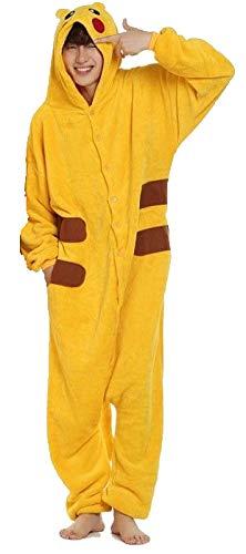 Kinder Jungen Mädchen Herren Damen Pikachu Pokemon Onesie Loungewear Kostüm Kostüm Outfit Cosplay Rollenspiel unisex bequem (Herren ()