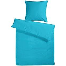 Carpe Sonno Kühles Mako Satin Hotel-Bettwäsche Set in Exklusiver Hotelqualität 135 x 200 cm Petrol Blau aus 100% Baumwolle Schlafkomfort – Bettzeug mit Kopfkissen-Bezug
