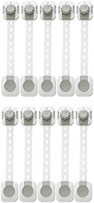 Remson Baby Safety Cupboard Locks with Adjustable Strap, 3M Adhesive and Latch System for Cabinets, Drawers, T