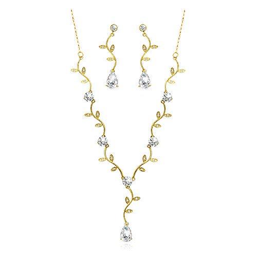 Joeyan Schmuckset Blatt Träne Rebe Kristall Strass 925er Silber 14K Gold Halskette Ohrringe Frauen Braut Hochzeit Geschenke (Ohrring-gold Für Frauen)