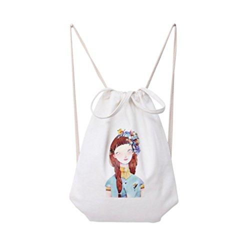 Hosaire 1x Hand Tasche Rucksäcke Multifunktion Einfacher Stil Canvas Rucksack Backpack Damen Frauen Daypacks Handtasche mit Seil,35 x 40 cm Farbe#1