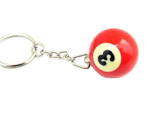 (Nummer 3) Schlüsselanhänger mit Anhänger - Billardkugel - Anzahl - Geschenkidee - Mann - Frau - Unisex - Pool Billards