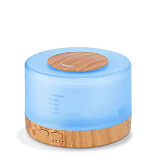 Clock 500Ml Air Humidifier Essential Oil Diffuser Aroma Lamp Aromatherapy Electric Aroma Diffuser Mist Maker For Home-Wood