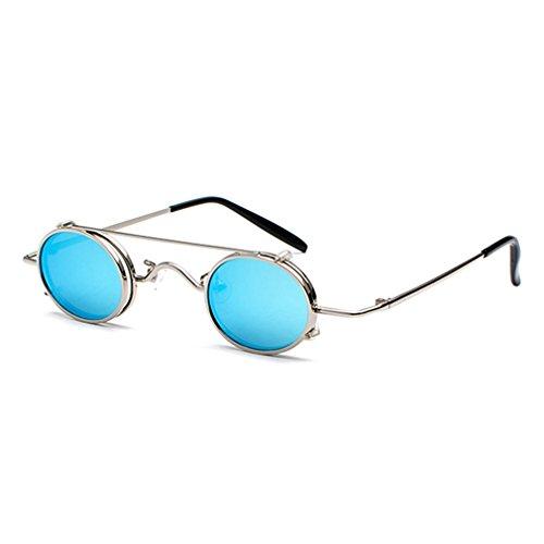 kunfang Klapp-Sonnenbrille Steampunk Stil Circle Runde Linse für Herren und Damen Metall Hochklappbare Abnehmbar Brille