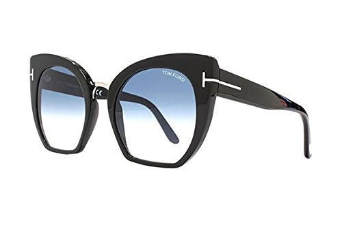 Tom Ford Unisex-Erwachsene FT0553 01W 55 Sonnenbrille, Schwarz (Nero Lucido/Blu Grad),
