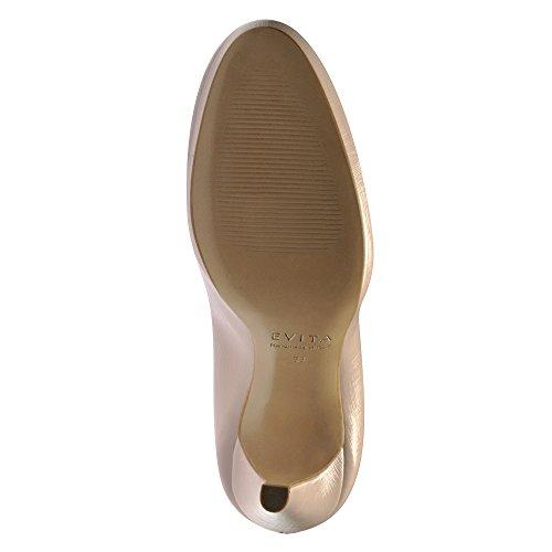 Evita Shoes Cristina Scarpe col tacco donna vernice con rilievo Beige chiaro